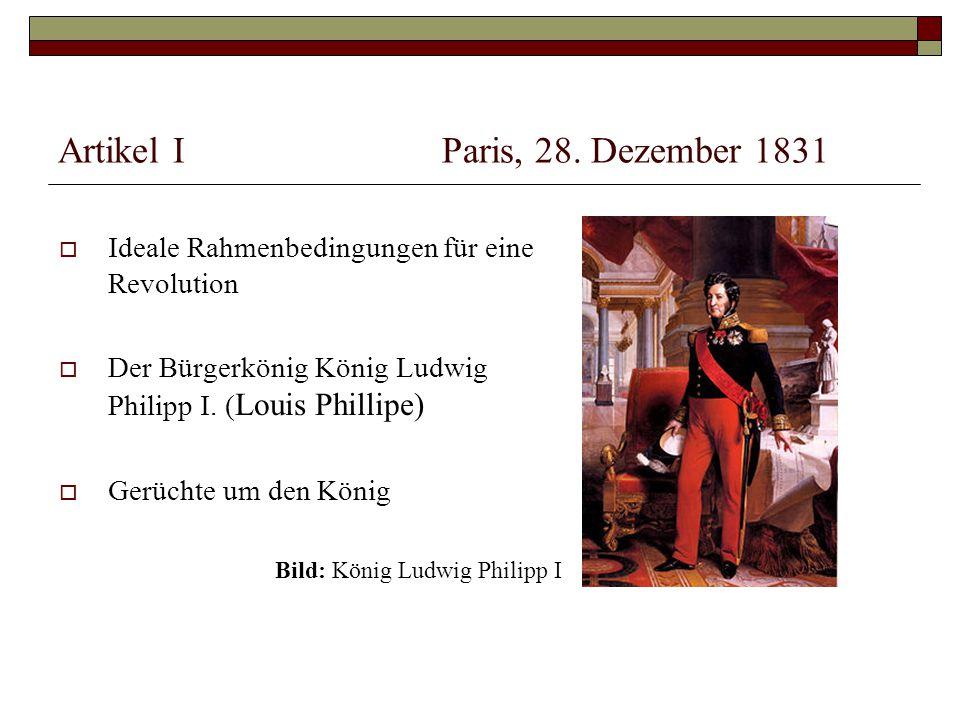 """Artikel IIParis, 19.Jänner 1832  """"Allgemeine Zeitung berichtet negativ über Ludwig Philipp I."""