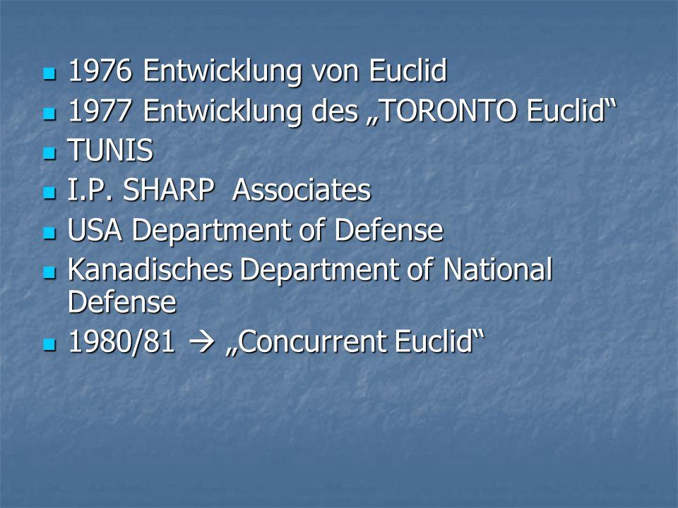 """1976 Entwicklung von Euclid 1976 Entwicklung von Euclid 1977 Entwicklung des """"TORONTO Euclid 1977 Entwicklung des """"TORONTO Euclid TUNIS TUNIS I.P."""