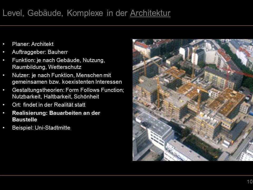10 Level, Gebäude, Komplexe in der Architektur Planer: Architekt Auftraggeber: Bauherr Funktion: je nach Gebäude, Nutzung, Raumbildung, Wetterschutz Nutzer: je nach Funktion, Menschen mit gemeinsamen bzw.