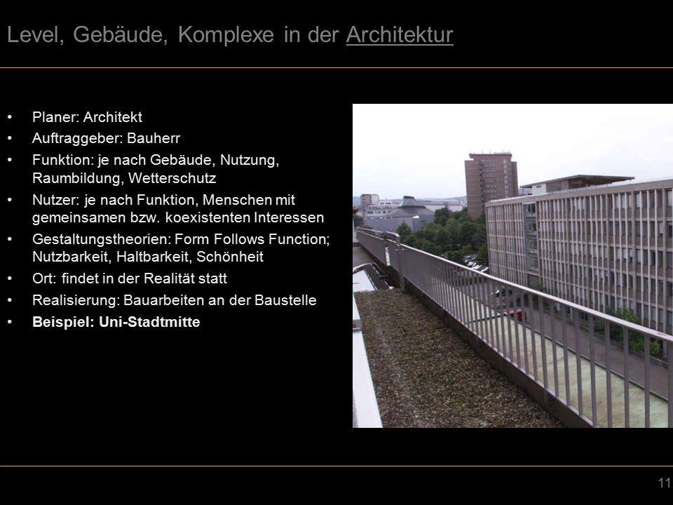11 Level, Gebäude, Komplexe in der Architektur Planer: Architekt Auftraggeber: Bauherr Funktion: je nach Gebäude, Nutzung, Raumbildung, Wetterschutz Nutzer: je nach Funktion, Menschen mit gemeinsamen bzw.