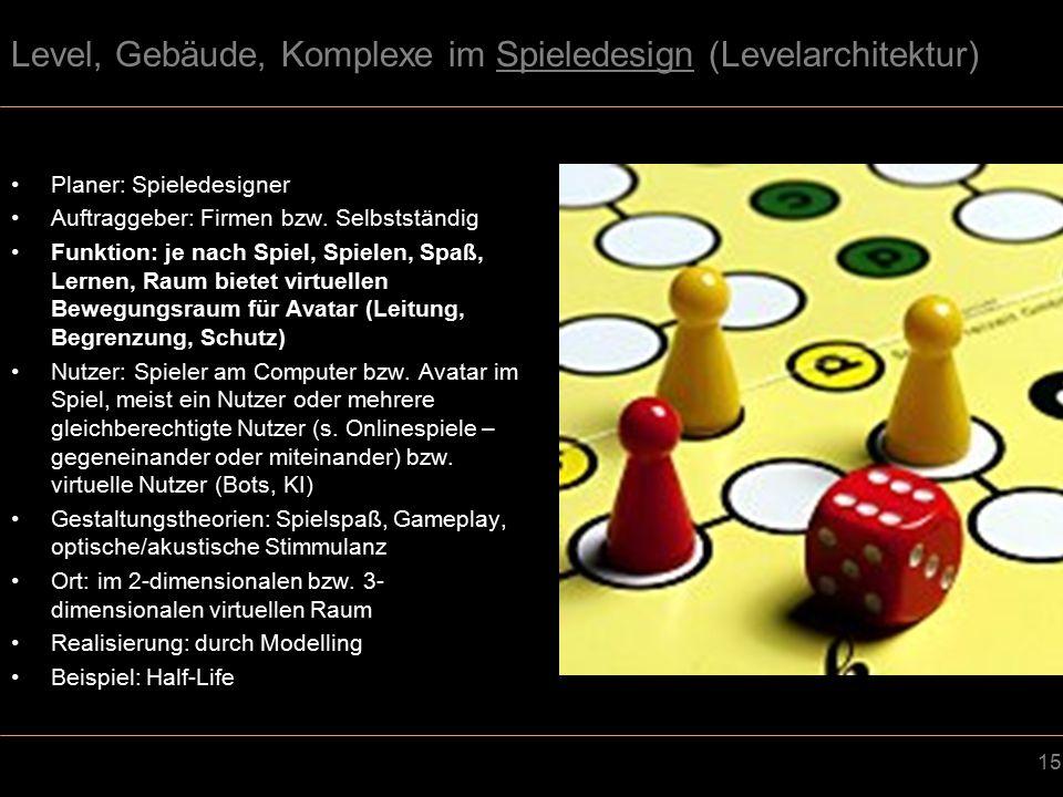 15 Level, Gebäude, Komplexe im Spieledesign (Levelarchitektur) Planer: Spieledesigner Auftraggeber: Firmen bzw.