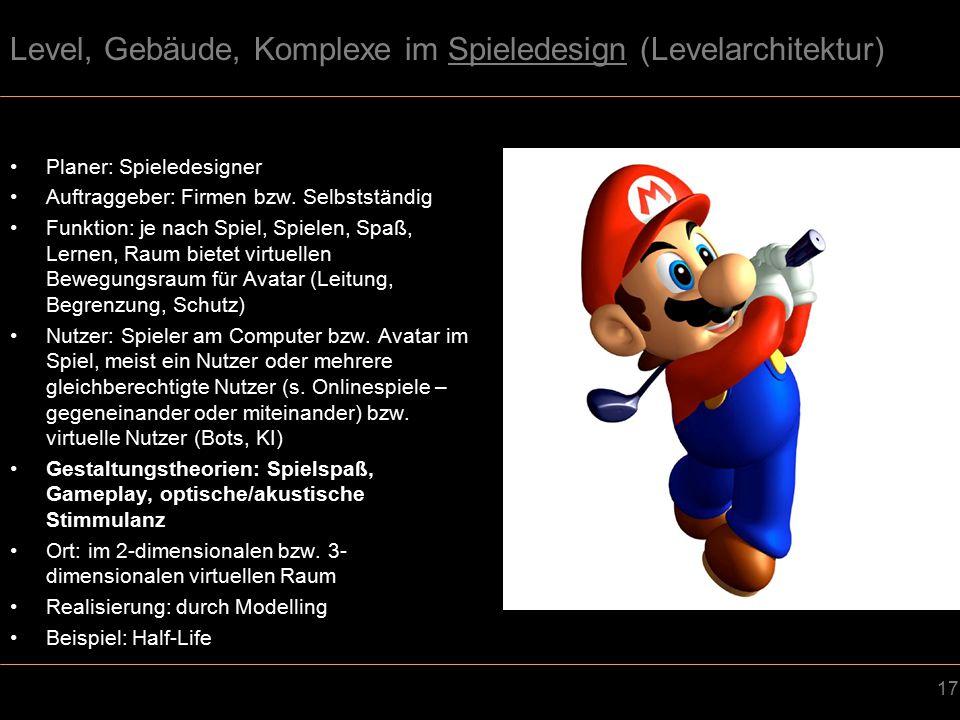 17 Level, Gebäude, Komplexe im Spieledesign (Levelarchitektur) Planer: Spieledesigner Auftraggeber: Firmen bzw.
