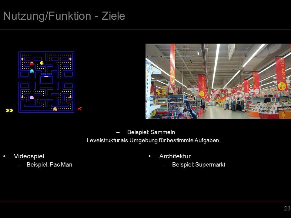 23 Nutzung/Funktion - Ziele Videospiel –Beispiel: Pac Man Architektur –Beispiel: Supermarkt –Beispiel: Sammeln Levelstruktur als Umgebung für bestimmte Aufgaben