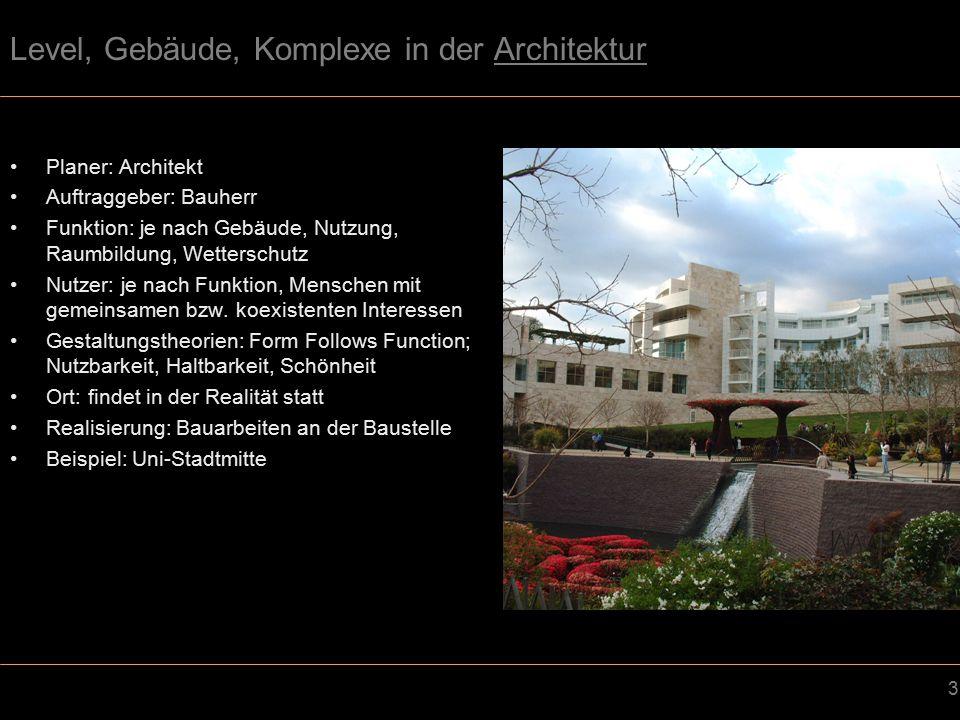 14 Level, Gebäude, Komplexe im Spieledesign (Levelarchitektur) Planer: Spieledesigner Auftraggeber: Firmen bzw.