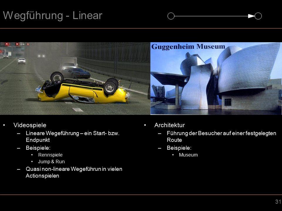 31 Wegführung - Linear Videospiele –Lineare Wegeführung – ein Start- bzw.