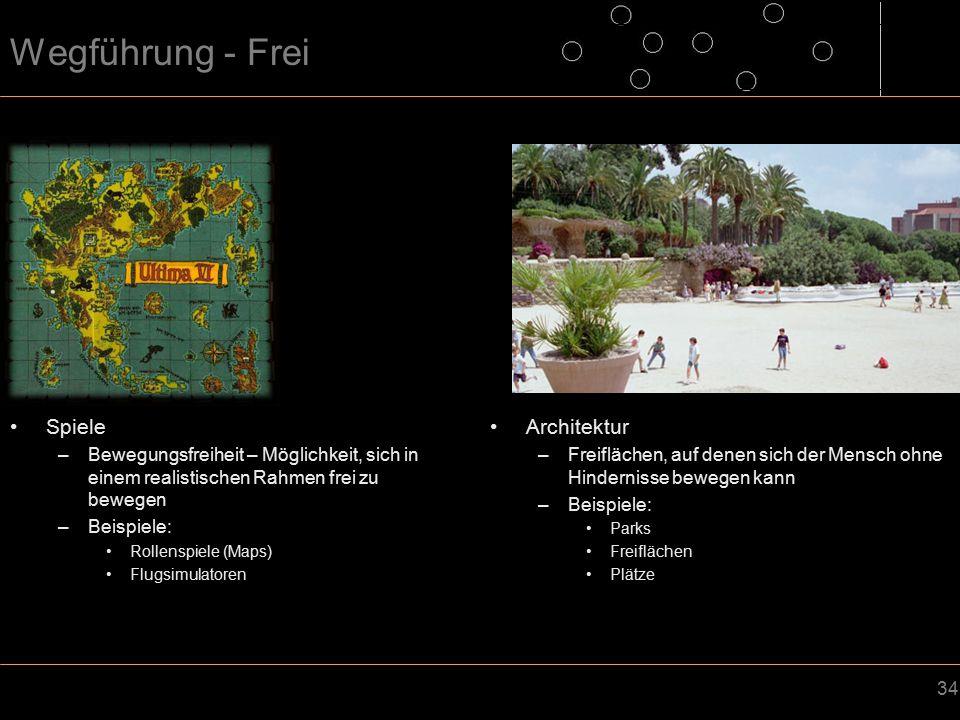 34 Wegführung - Frei Spiele –Bewegungsfreiheit – Möglichkeit, sich in einem realistischen Rahmen frei zu bewegen –Beispiele: Rollenspiele (Maps) Flugsimulatoren Architektur –Freiflächen, auf denen sich der Mensch ohne Hindernisse bewegen kann –Beispiele: Parks Freiflächen Plätze