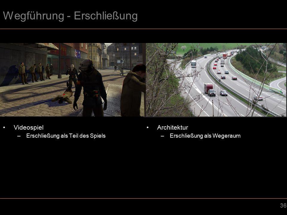 36 Wegführung - Erschließung Videospiel –Erschließung als Teil des Spiels Architektur –Erschließung als Wegeraum