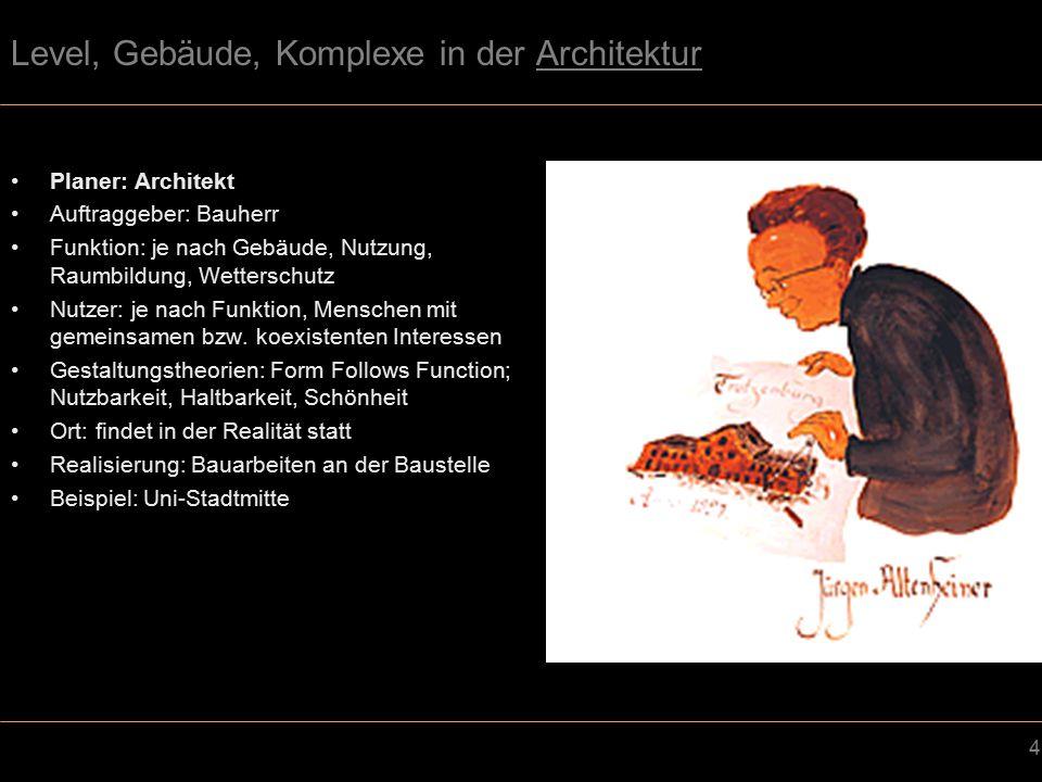 35 Wegführung – Veränderbar/Adaptiv Videospiel –Veränderbare/adaptive Wegeführung – die Wege passen sich dem Spieler an, der Spieler generiert die Wege oder das Level wird zufällig berechnet –Beispiele Konstruktions-Simulationen (Dungeon Keeper) Rollenspiele (Diabolo) Architektur –Die Architektur ist veränderlich (temporär) oder die Wegeführung kann vom Betreiber reguliert werden –Beispiele: Temporäre Bauten (Messestände) Schranken Drehkreuze Automatische Türen