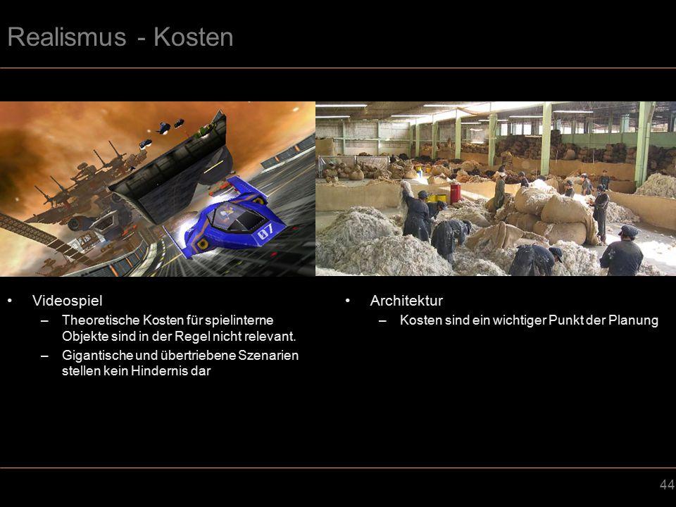 44 Realismus - Kosten Videospiel –Theoretische Kosten für spielinterne Objekte sind in der Regel nicht relevant.