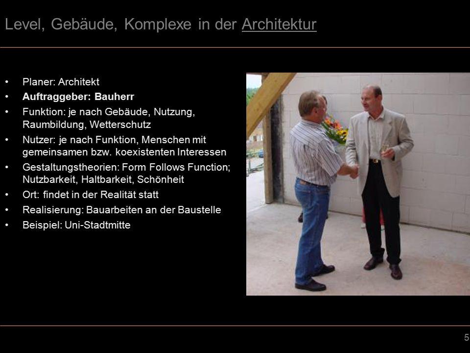 5 Level, Gebäude, Komplexe in der Architektur Planer: Architekt Auftraggeber: Bauherr Funktion: je nach Gebäude, Nutzung, Raumbildung, Wetterschutz Nutzer: je nach Funktion, Menschen mit gemeinsamen bzw.