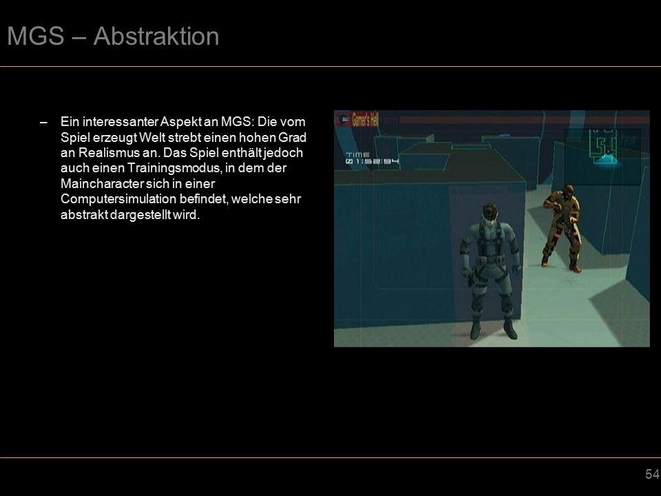 54 MGS – Abstraktion –Ein interessanter Aspekt an MGS: Die vom Spiel erzeugt Welt strebt einen hohen Grad an Realismus an.