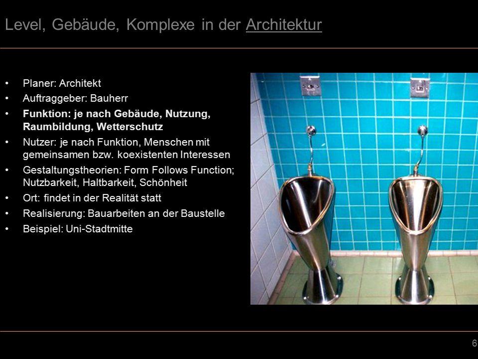 7 Level, Gebäude, Komplexe in der Architektur Planer: Architekt Auftraggeber: Bauherr Funktion: je nach Gebäude, Nutzung, Raumbildung, Wetterschutz Nutzer: je nach Funktion, Menschen mit gemeinsamen bzw.