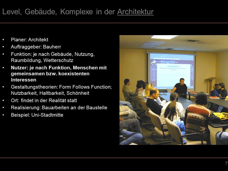 18 Level, Gebäude, Komplexe im Spieledesign (Levelarchitektur) Planer: Spieledesigner Auftraggeber: Firmen bzw.