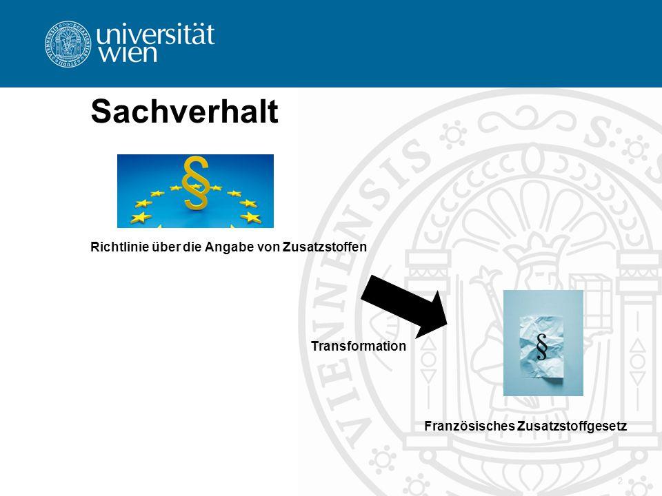 2 Sachverhalt Richtlinie über die Angabe von Zusatzstoffen Transformation Französisches Zusatzstoffgesetz