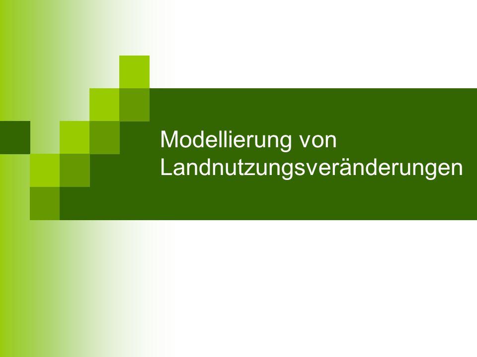 Inhalt 1 Einführung 2 Ursachen der Landnutzungsveränderung 3 Erfassung und Analyse von Veränderungsprozessen 3.1 Multitemporale Bildverarbeitung 3.2 Multispektrale Klassifizierung 4 Modellkonzepte und Anwendungen 4.1 Zelluläre Automaten 4.2 Agent-Base Modell 4.3 CLUE-s Modell 5 Zusammenfassung