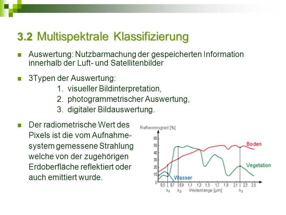3.2 Multispektrale Klassifizierung Auswertung: Nutzbarmachung der gespeicherten Information innerhalb der Luft- und Satellitenbilder 3Typen der Auswer