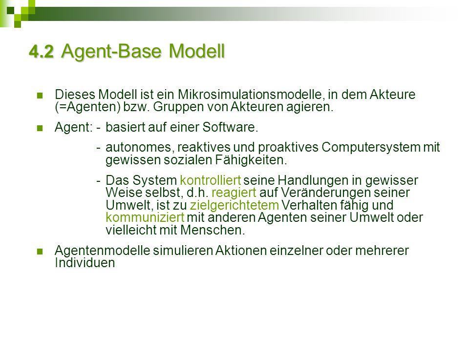 4.2 Agent-Base Modell Dieses Modell ist ein Mikrosimulationsmodelle, in dem Akteure (=Agenten) bzw. Gruppen von Akteuren agieren. Agent:-basiert auf e