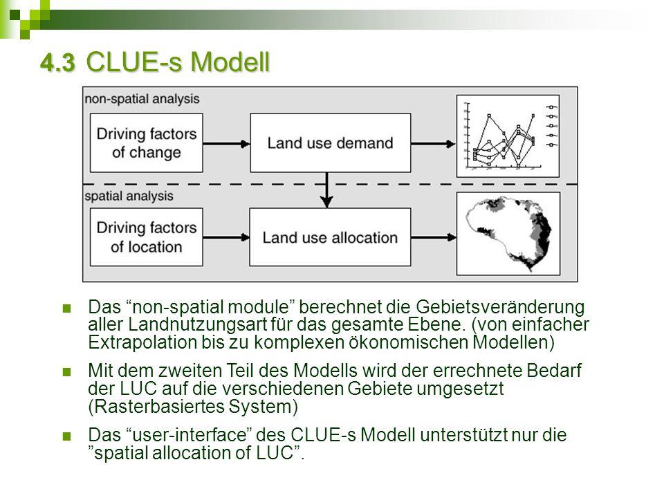 """4.3 CLUE-s Modell Das """"non-spatial module"""" berechnet die Gebietsveränderung aller Landnutzungsart für das gesamte Ebene. (von einfacher Extrapolation"""