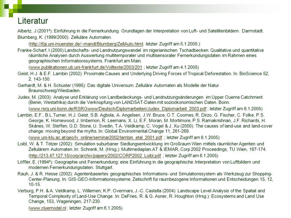 Literatur Albertz, J (2001²): Einführung in die Fernerkundung. Grundlagen der Interpretation von Luft- und Satellitenbildern. Darmstadt. Blumberg, K.