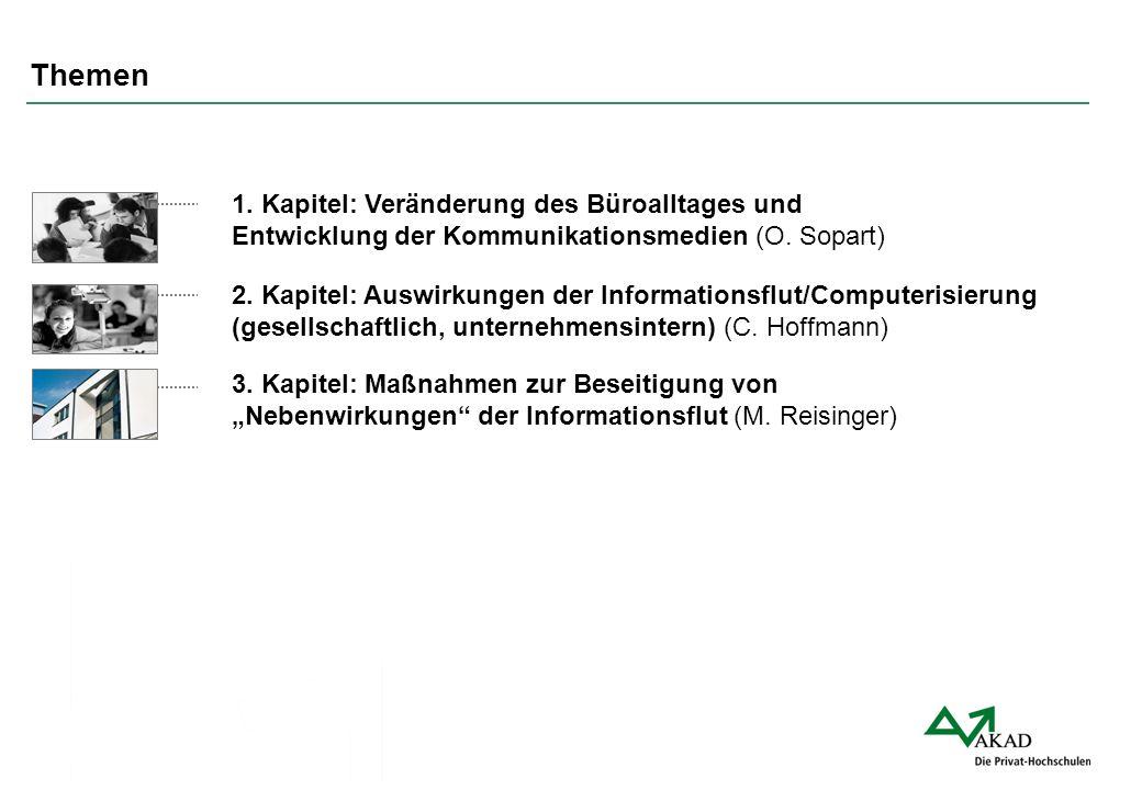 Thema 5: Gesellschaftliche Auswirkungen der Computerisierung im Büro ANS 08 – 08.02.2007 Thema bearbeitet von Marion Reisinger, Oliver Sopart, Christopher Hoffmann