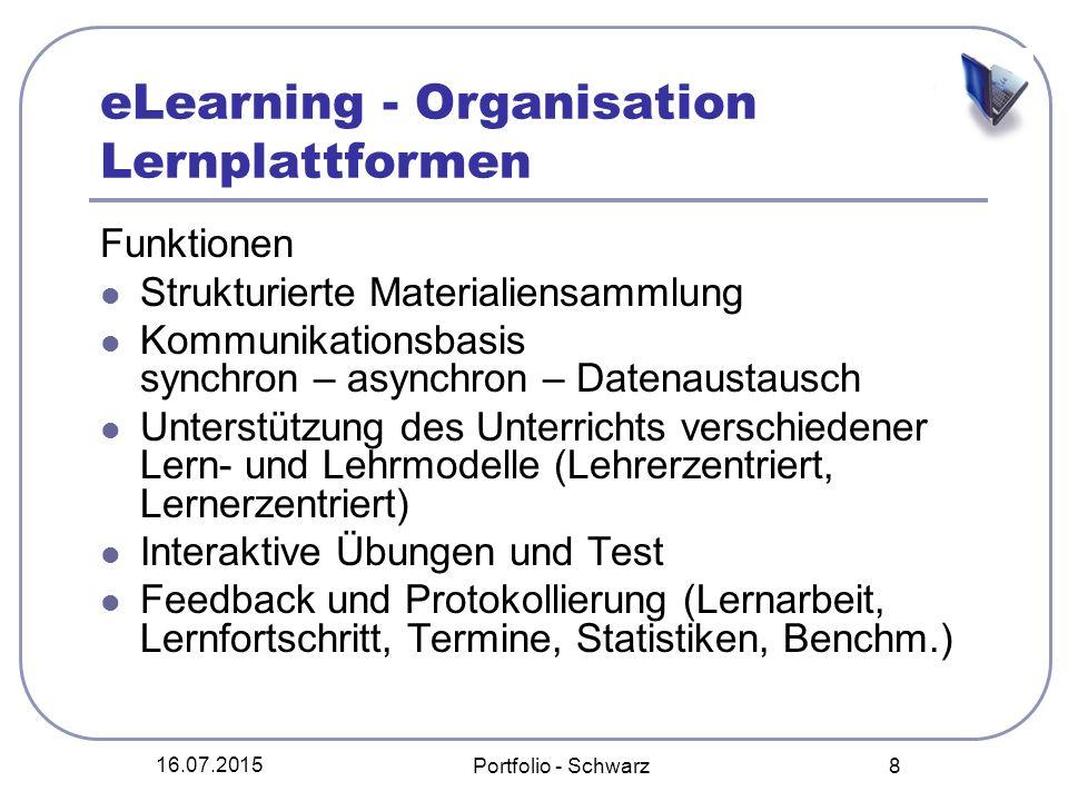 16.07.2015 Portfolio - Schwarz 8 eLearning - Organisation Lernplattformen Funktionen Strukturierte Materialiensammlung Kommunikationsbasis synchron –