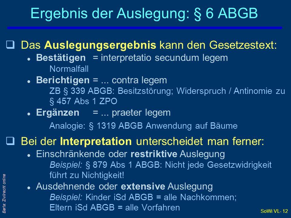 SoWi VL- 11 Barta: Zivilrecht online Mögliche Auslegungsschritte: § 6 ABGB Die Auslegung/Interpretation ist ein einheitlicher Vorgang (eine Art Gesamtakt), der nicht immer alle (möglichen) Schritte umfassen muß.