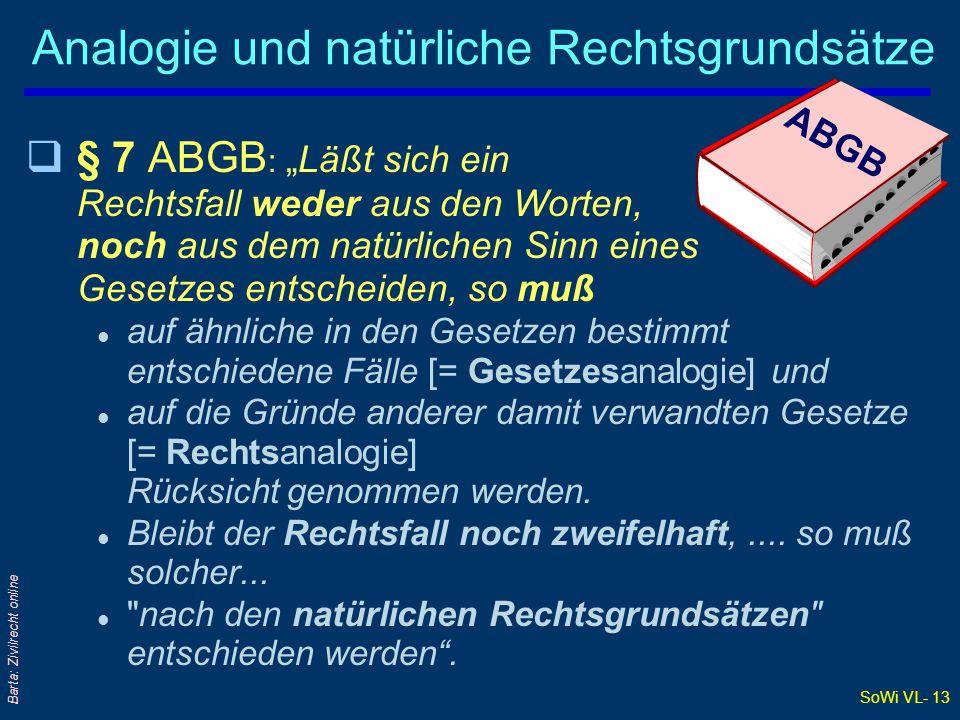 SoWi VL- 12 Barta: Zivilrecht online Ergebnis der Auslegung: § 6 ABGB qDas Auslegungsergebnis kann den Gesetzestext: l Bestätigen= interpretatio secundum legem Normalfall l Berichtigen=...