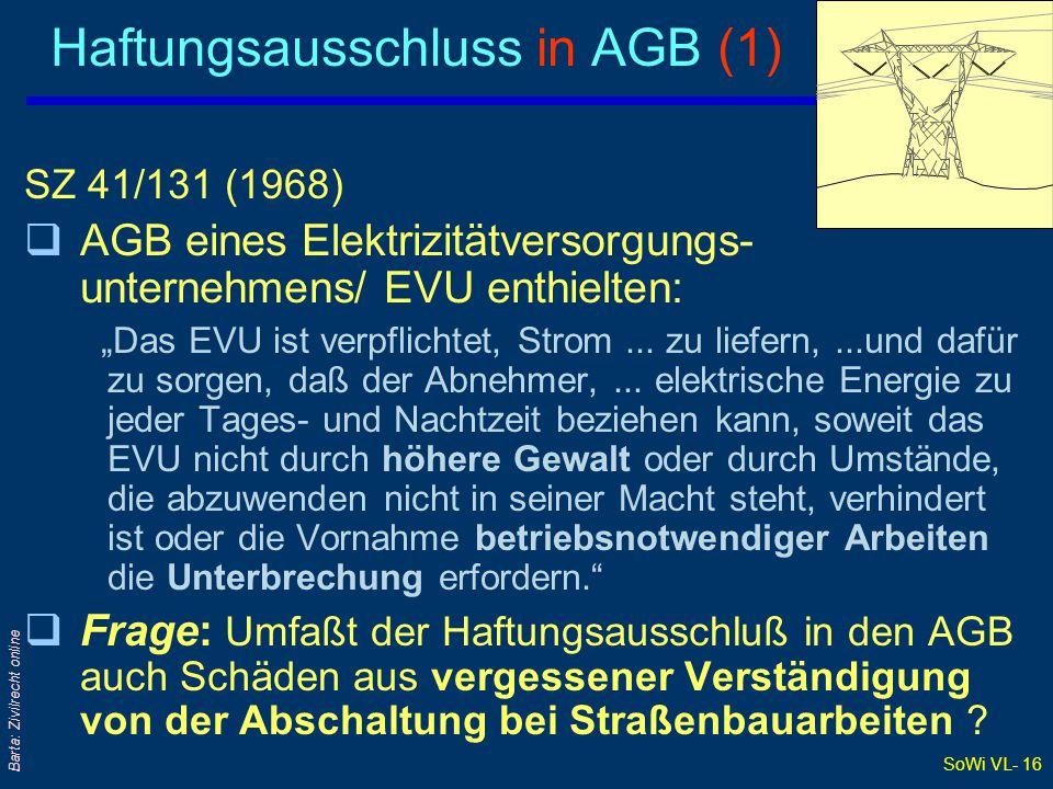 SoWi VL- 15 Barta: Zivilrecht online Vertragsauslegung und Willenserklärungen 1.