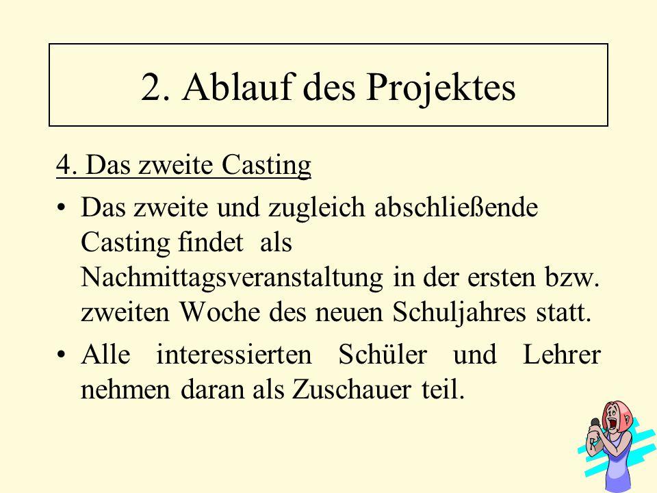 4. Das zweite Casting Das zweite und zugleich abschließende Casting findet als Nachmittagsveranstaltung in der ersten bzw. zweiten Woche des neuen Sch