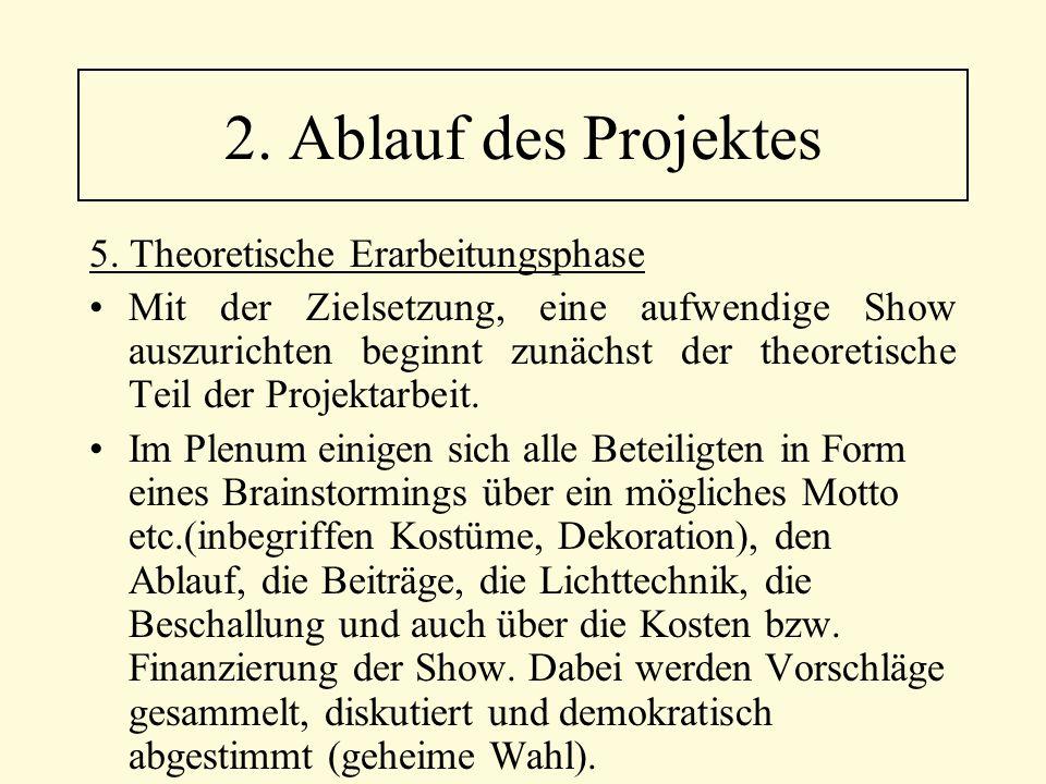 5. Theoretische Erarbeitungsphase Mit der Zielsetzung, eine aufwendige Show auszurichten beginnt zunächst der theoretische Teil der Projektarbeit. Im