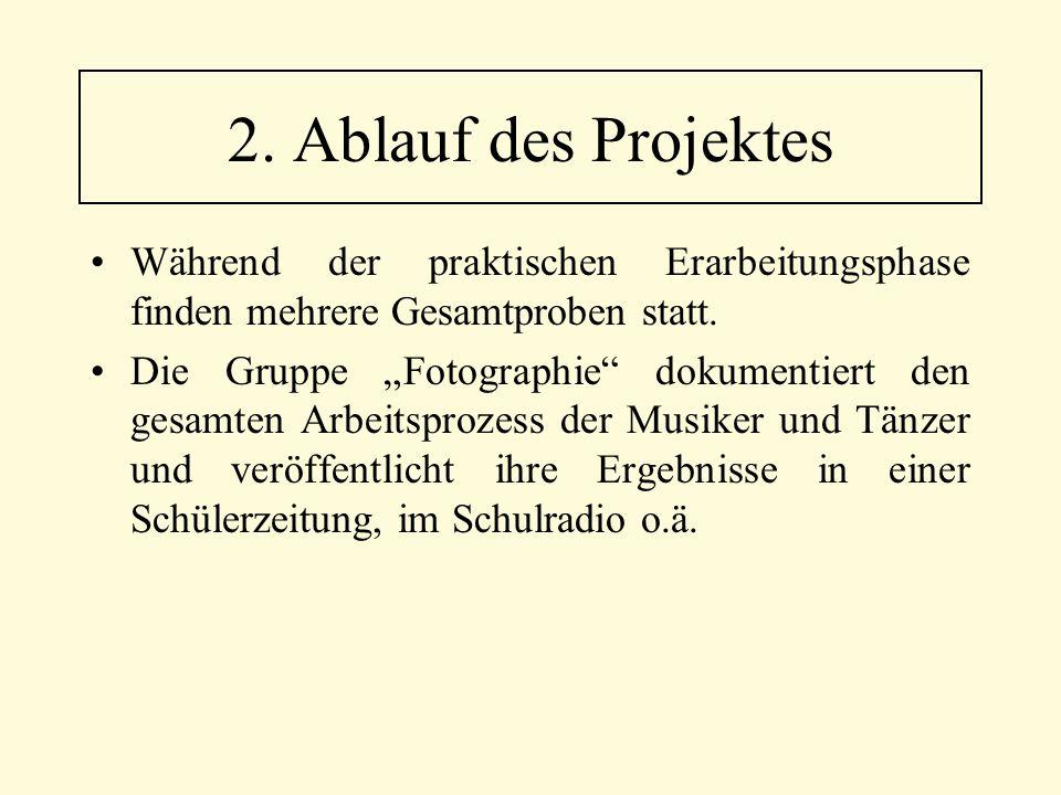 """Während der praktischen Erarbeitungsphase finden mehrere Gesamtproben statt. Die Gruppe """"Fotographie"""" dokumentiert den gesamten Arbeitsprozess der Mus"""