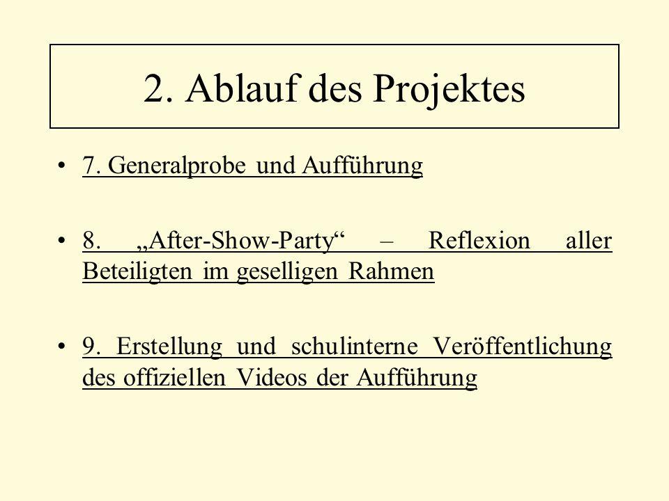 """7. Generalprobe und Aufführung 8. """"After-Show-Party"""" – Reflexion aller Beteiligten im geselligen Rahmen 9. Erstellung und schulinterne Veröffentlichun"""