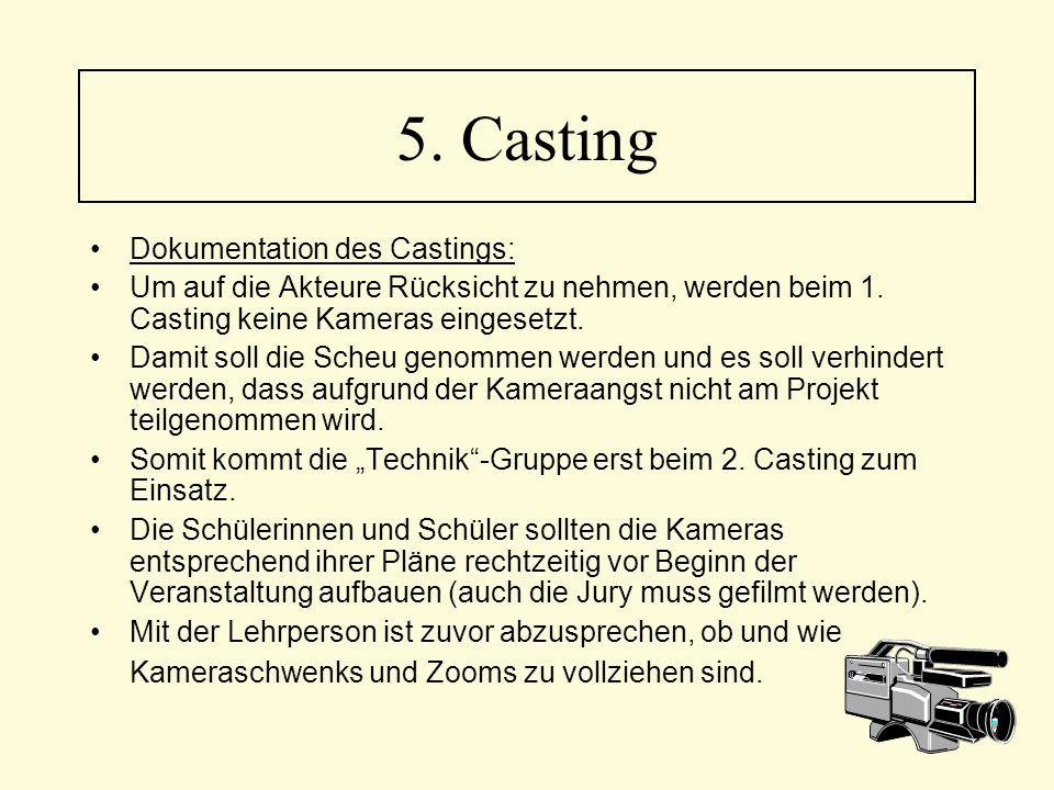 Dokumentation des Castings: Um auf die Akteure Rücksicht zu nehmen, werden beim 1. Casting keine Kameras eingesetzt. Damit soll die Scheu genommen wer