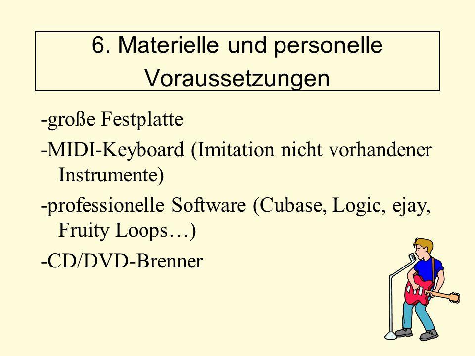 -große Festplatte -MIDI-Keyboard (Imitation nicht vorhandener Instrumente) -professionelle Software (Cubase, Logic, ejay, Fruity Loops…) -CD/DVD-Brenn