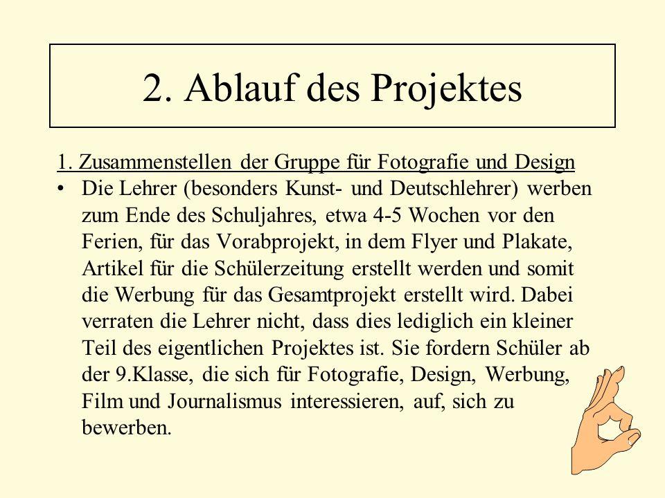 1. Zusammenstellen der Gruppe für Fotografie und Design Die Lehrer (besonders Kunst- und Deutschlehrer) werben zum Ende des Schuljahres, etwa 4-5 Woch