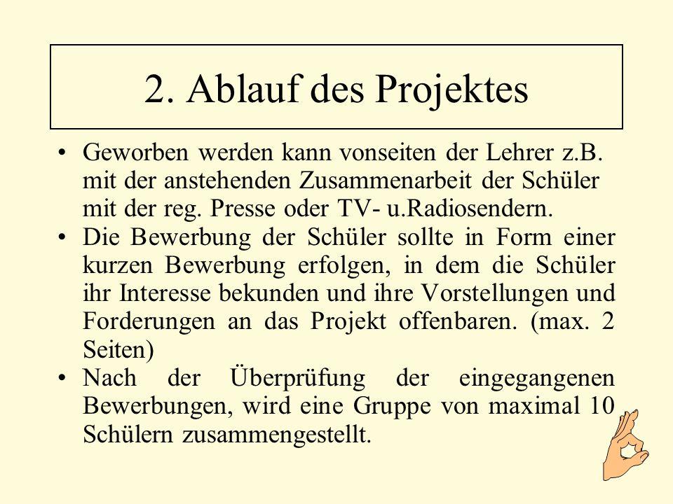 Da allen Beteiligten zu diesem Zeitpunkt das Ziel des Projektes klar ist, kann nun mit der ersten Tätigkeit begonnen werden, die ein greifbares Produkt zur Folge hat.