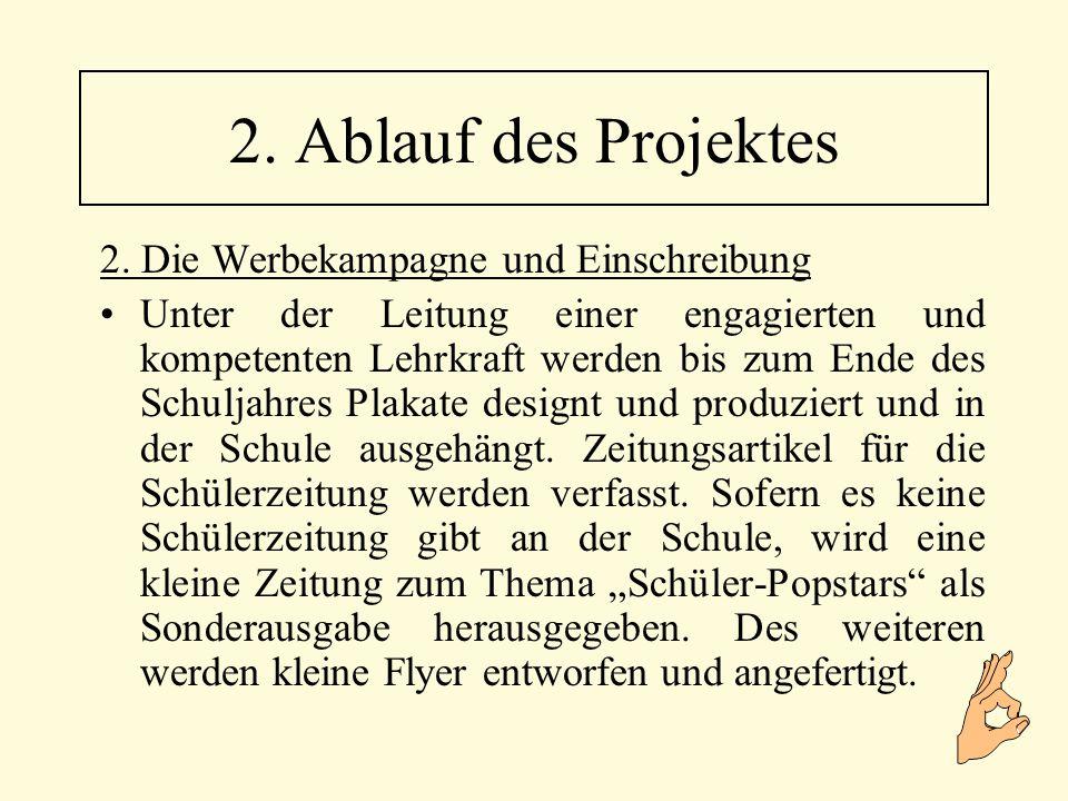 7.Generalprobe und Aufführung 8.
