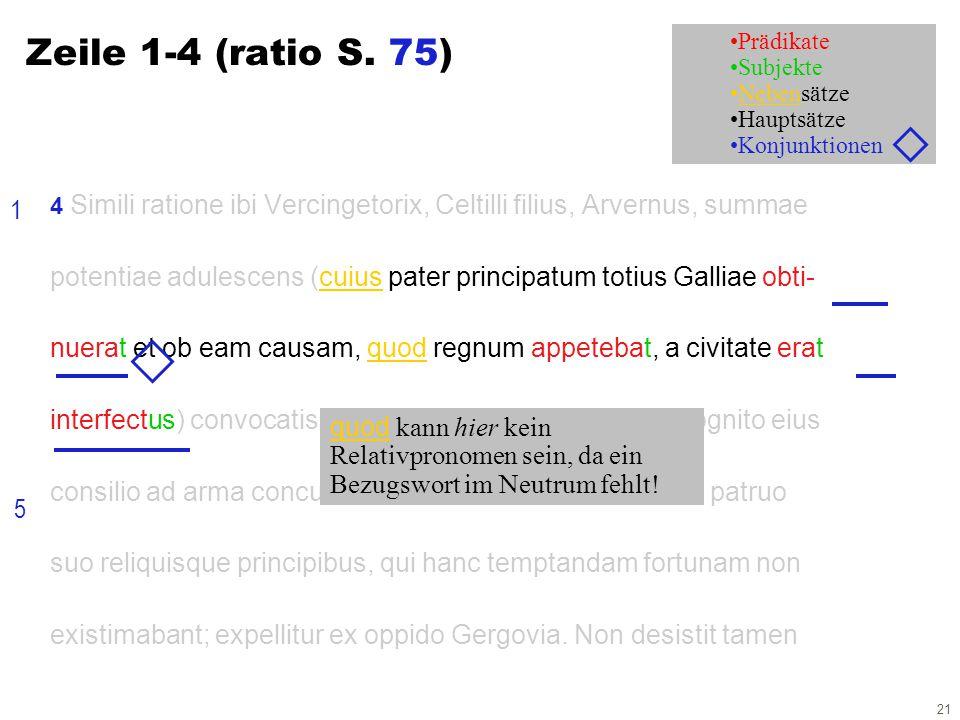 21 Prädikate Subjekte Nebensätze Hauptsätze Konjunktionen 4 Simili ratione ibi Vercingetorix, Celtilli filius, Arvernus, summae potentiae adulescens (