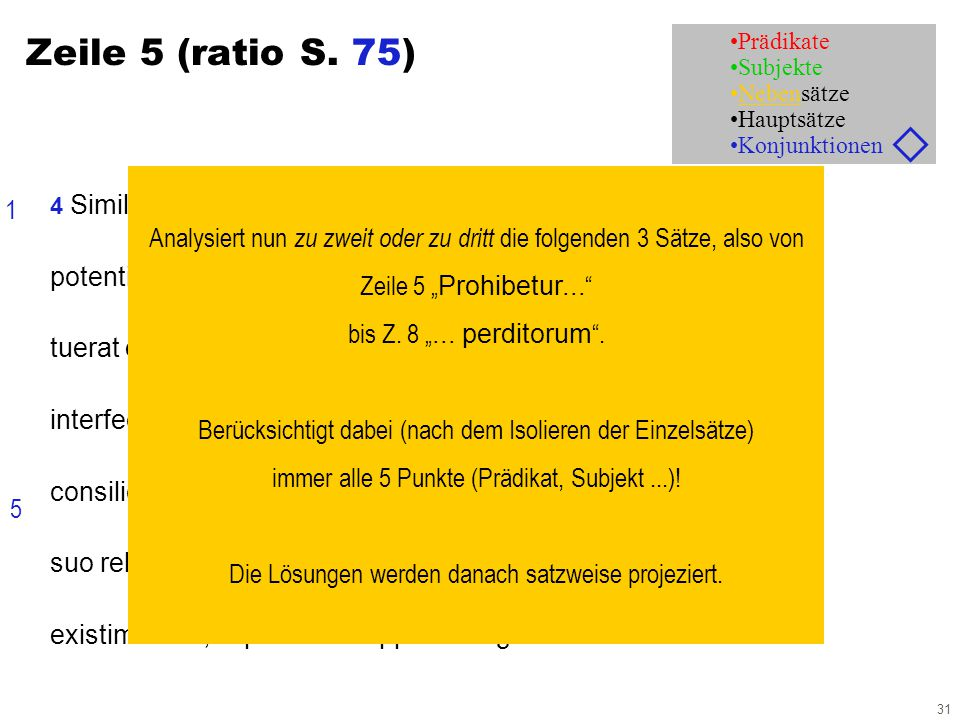 31 Zeile 5 (ratio S.
