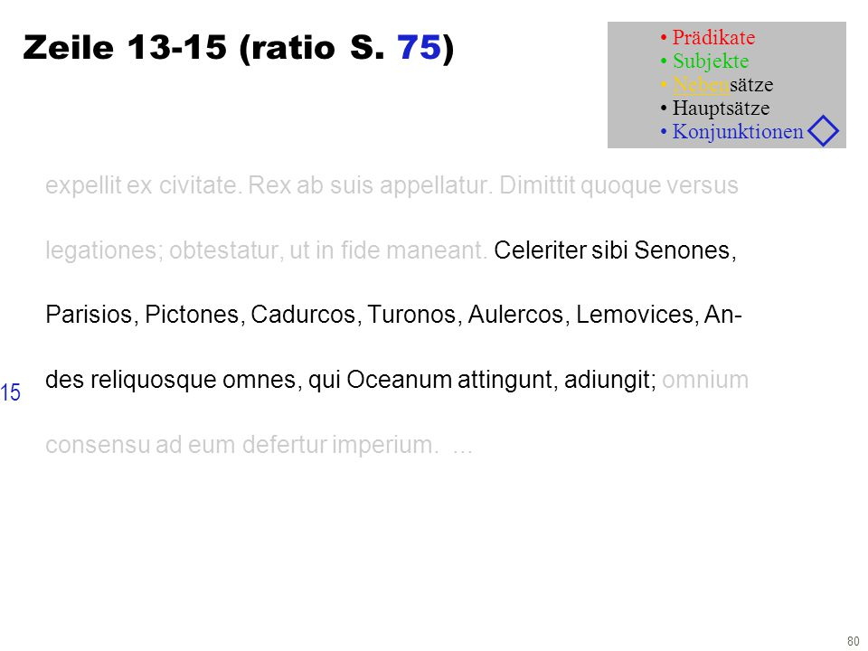 80 Zeile 13-15 (ratio S. 75) expellit ex civitate. Rex ab suis appellatur. Dimittit quoque versus legationes; obtestatur, ut in fide maneant. Celerite