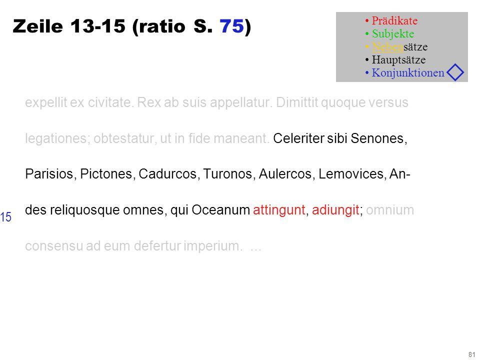 81 Zeile 13-15 (ratio S. 75) expellit ex civitate. Rex ab suis appellatur. Dimittit quoque versus legationes; obtestatur, ut in fide maneant. Celerite