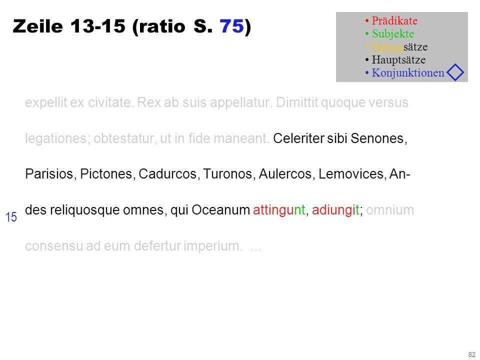 82 Zeile 13-15 (ratio S. 75) expellit ex civitate. Rex ab suis appellatur. Dimittit quoque versus legationes; obtestatur, ut in fide maneant. Celerite