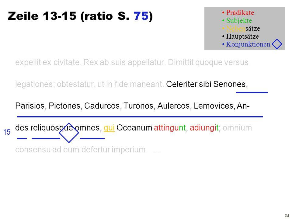 84 Zeile 13-15 (ratio S. 75) expellit ex civitate. Rex ab suis appellatur. Dimittit quoque versus legationes; obtestatur, ut in fide maneant. Celerite