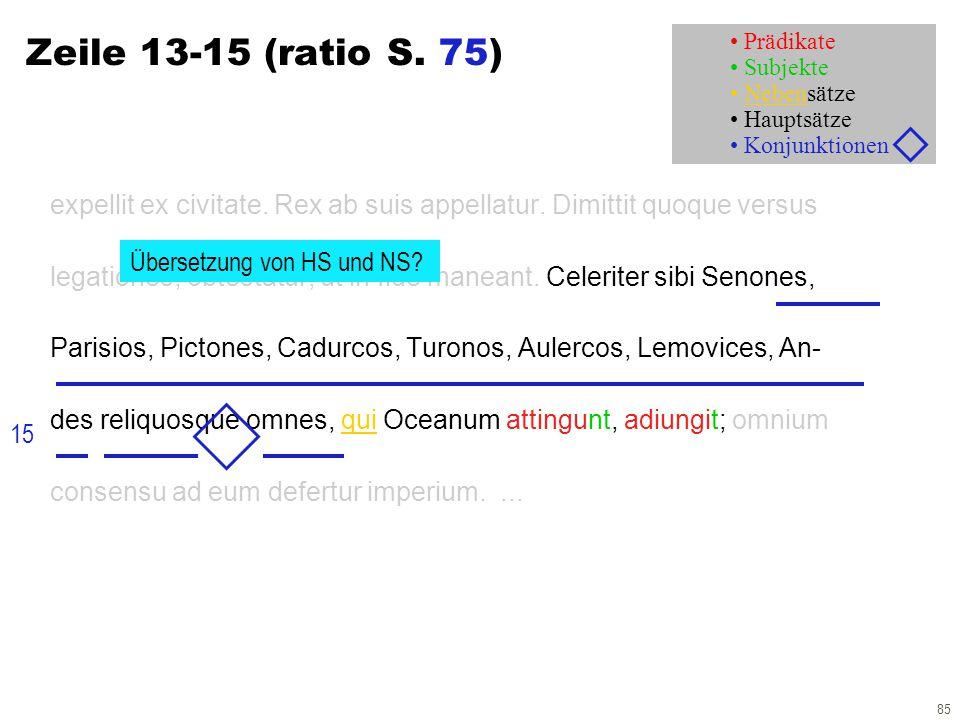 85 Zeile 13-15 (ratio S. 75) expellit ex civitate. Rex ab suis appellatur. Dimittit quoque versus legationes; obtestatur, ut in fide maneant. Celerite