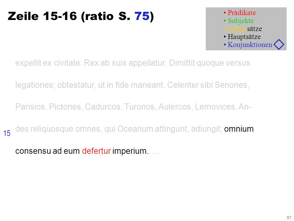 87 Zeile 15-16 (ratio S. 75) expellit ex civitate. Rex ab suis appellatur. Dimittit quoque versus legationes; obtestatur, ut in fide maneant. Celerite