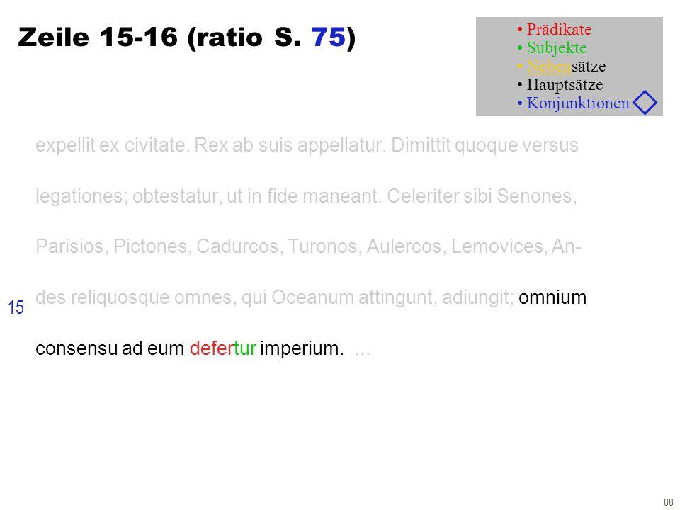 88 Zeile 15-16 (ratio S. 75) expellit ex civitate. Rex ab suis appellatur. Dimittit quoque versus legationes; obtestatur, ut in fide maneant. Celerite