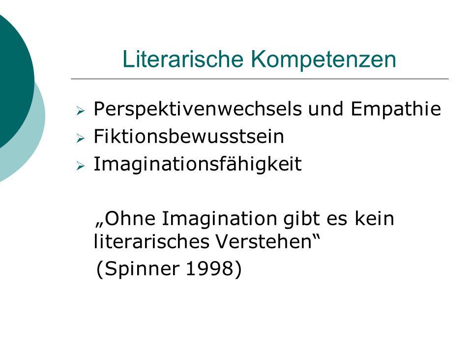 """Literarische Kompetenzen  Perspektivenwechsels und Empathie  Fiktionsbewusstsein  Imaginationsfähigkeit """"Ohne Imagination gibt es kein literarische"""