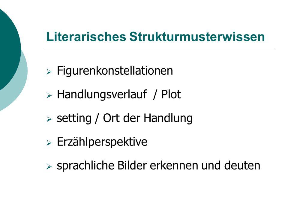 Literarisches Strukturmusterwissen  Figurenkonstellationen  Handlungsverlauf / Plot  setting / Ort der Handlung  Erzählperspektive  sprachliche B