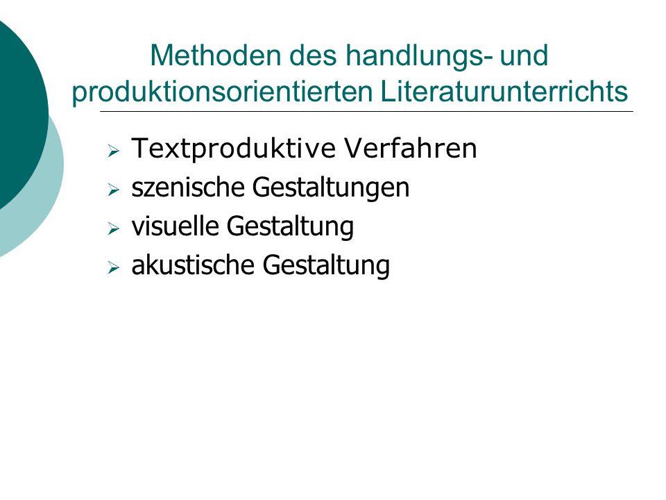 Methoden des handlungs- und produktionsorientierten Literaturunterrichts  Textproduktive Verfahren  szenische Gestaltungen  visuelle Gestaltung  a