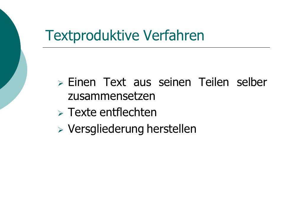 Textproduktive Verfahren  Einen Text aus seinen Teilen selber zusammensetzen  Texte entflechten  Versgliederung herstellen